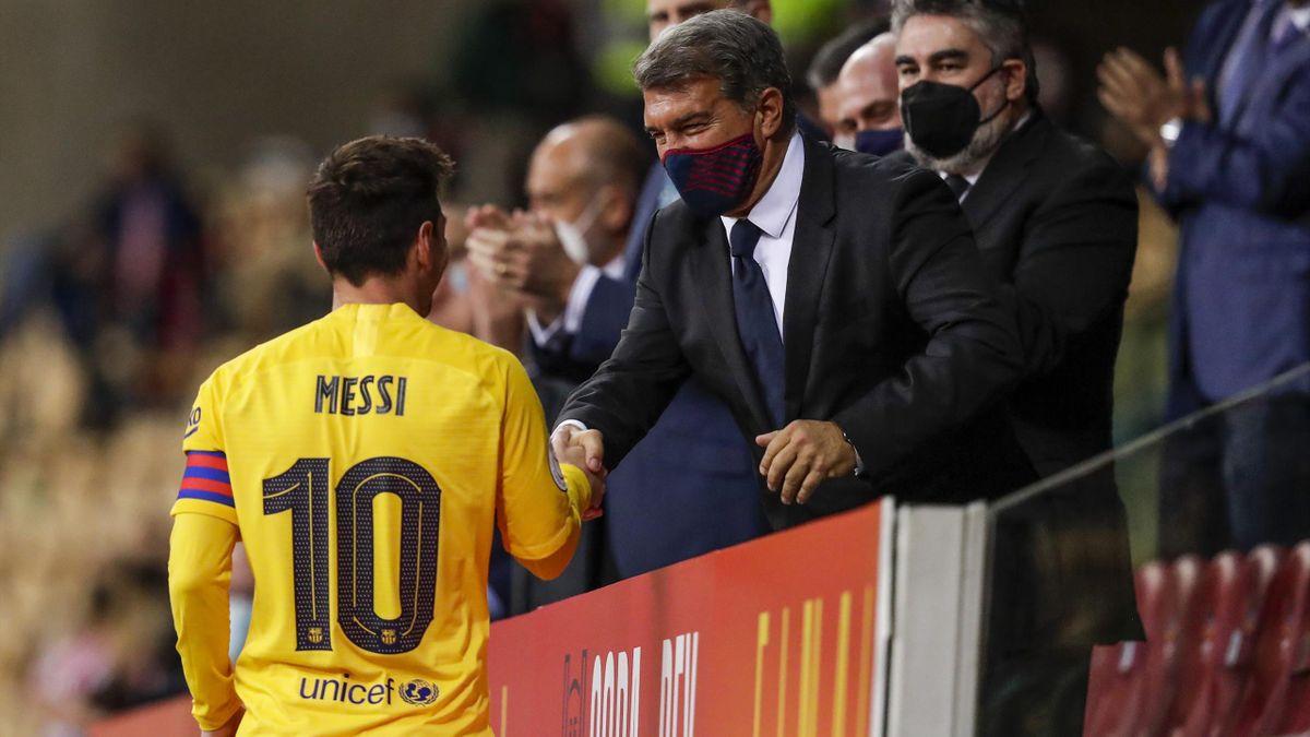 Barça-Star Messi und Vereinspräsident Laporta