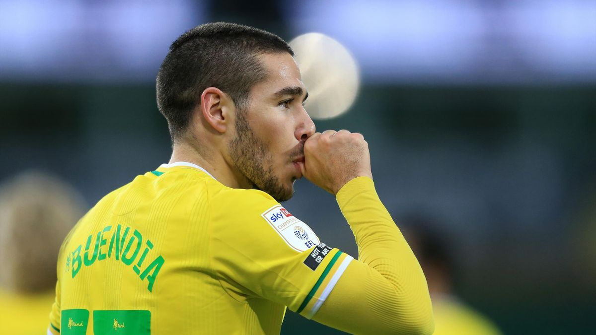 Emi Buendia of Norwich City celebrates after scoring their team's first goal during the Sky Bet Championship match between Norwich City and Barnsley at Carrow Road
