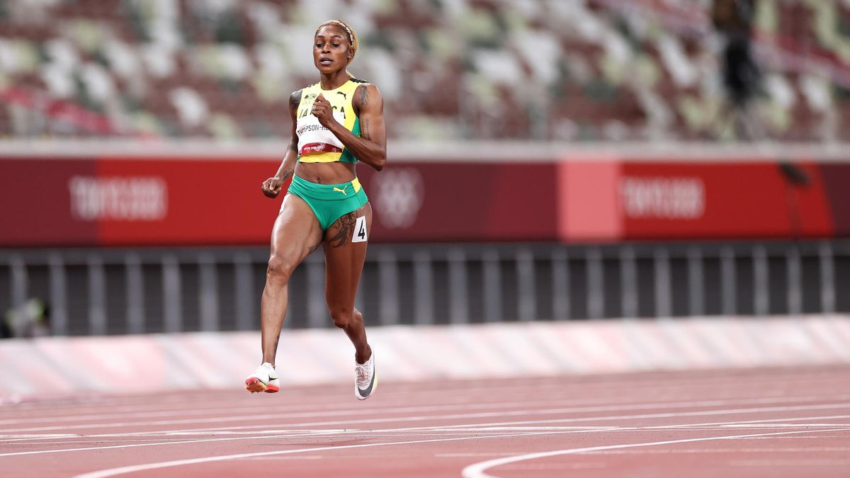 Elaine Thompson-Herah of Team Jamaica competes in the Women's 100m Semi-Final on day eight of the Tokyo 2020 Olympic Games at Olympic Stadium on July 31, 2021 in Tokyo, Japan.