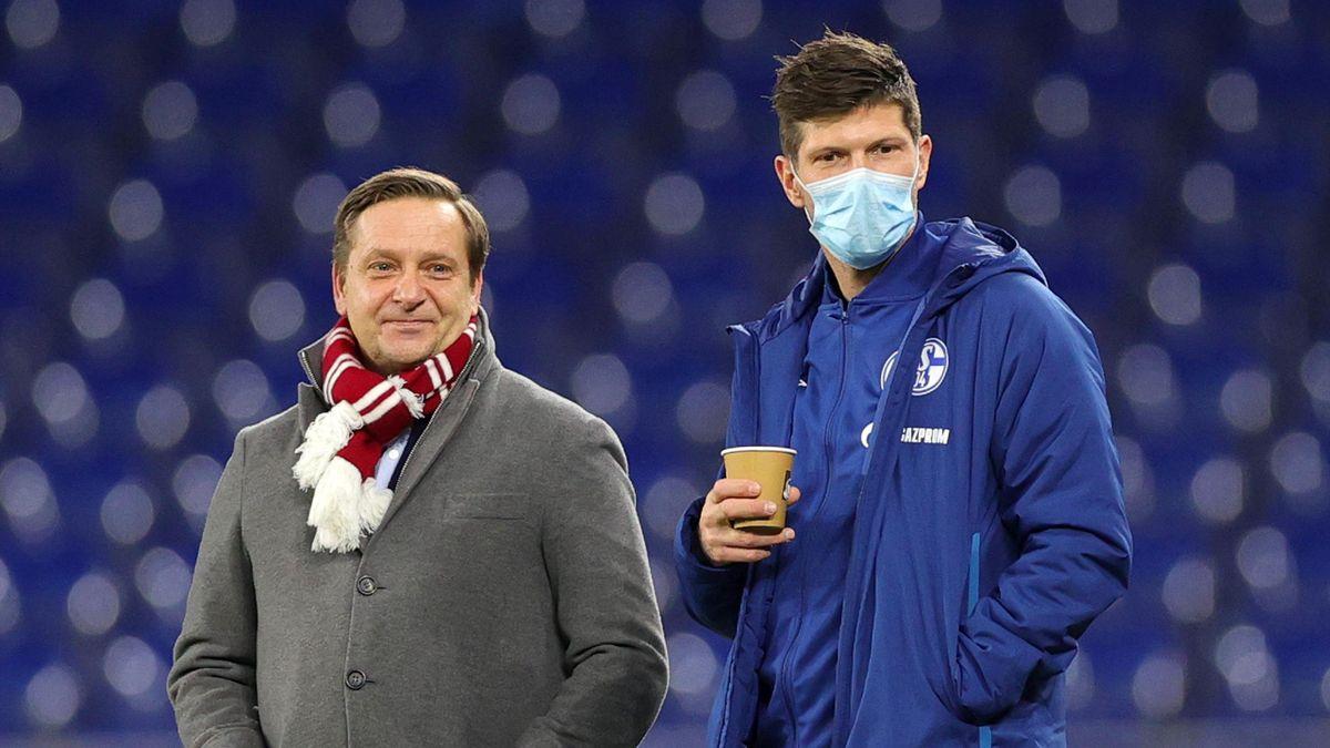 Horst Heldt (l.) und Klaas-Jan Huntelaar vom FC Schalke 04