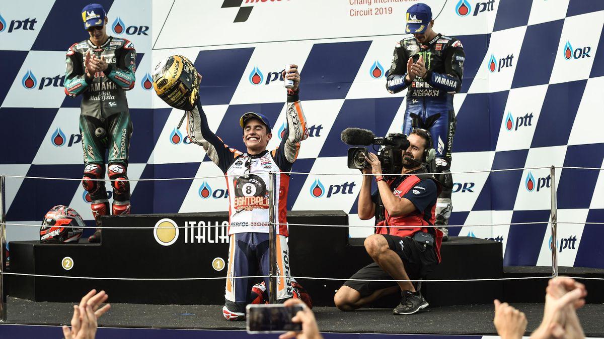 Marc Marquez (Honda HRC) sur le podium du Grand Prix de Thaïlande 2019