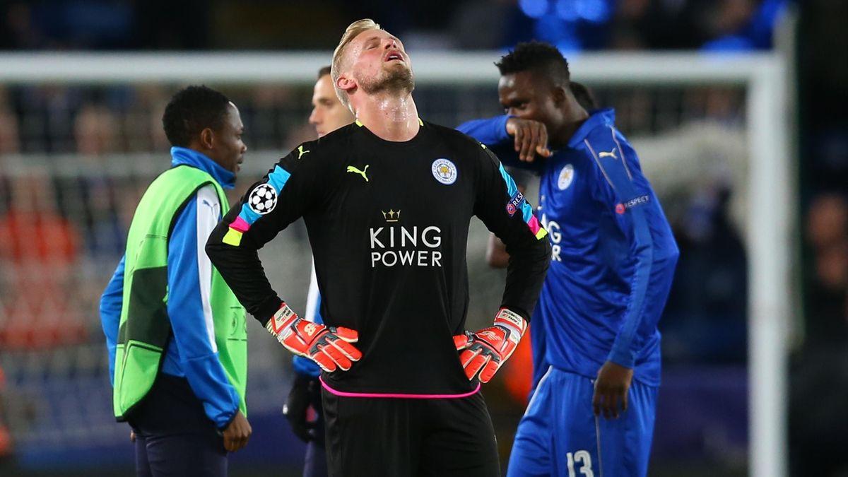 A dejected Leicester City goalkeeper Kasper Schmeichel during the UEFA Champions League Quarter Final second leg