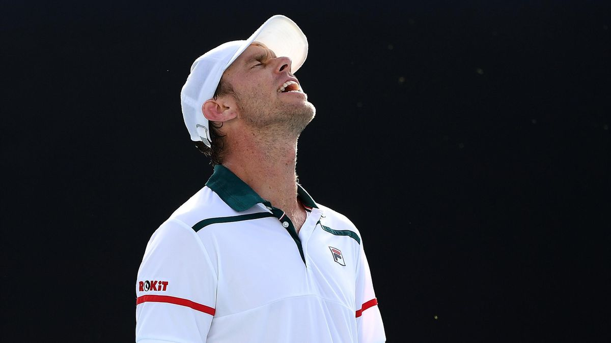MELBOURNE, AUSTRALIA - JANUARY 24: Sam Querrey of the United States reacts during his Men's Singles third round match against Tennys Sandgren of the United States on day five of the 2020 Australian Open at Melbourne Park on January 24, 2020 in Melbourne,