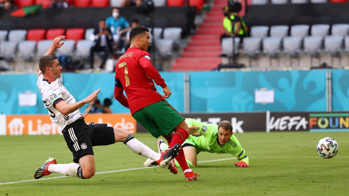 Cristiano Ronaldo (Portugal) scores against Germany