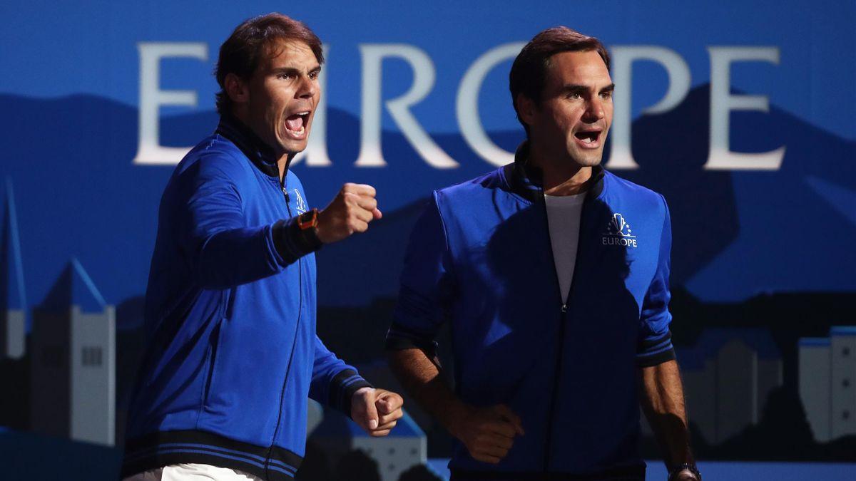 Rafael Nadal en Roger Federer tijdens de Laver Cup