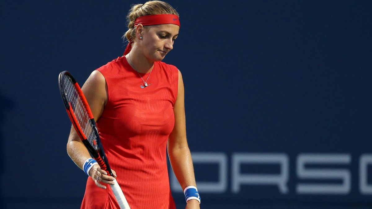 Petra Kvitova of Czech Republic reacts during her match against Shuai Zhang of China during Day 4 of the Connecticut Open at Connecticut Tennis Center at Yale on August 21, 2017 in New Haven.