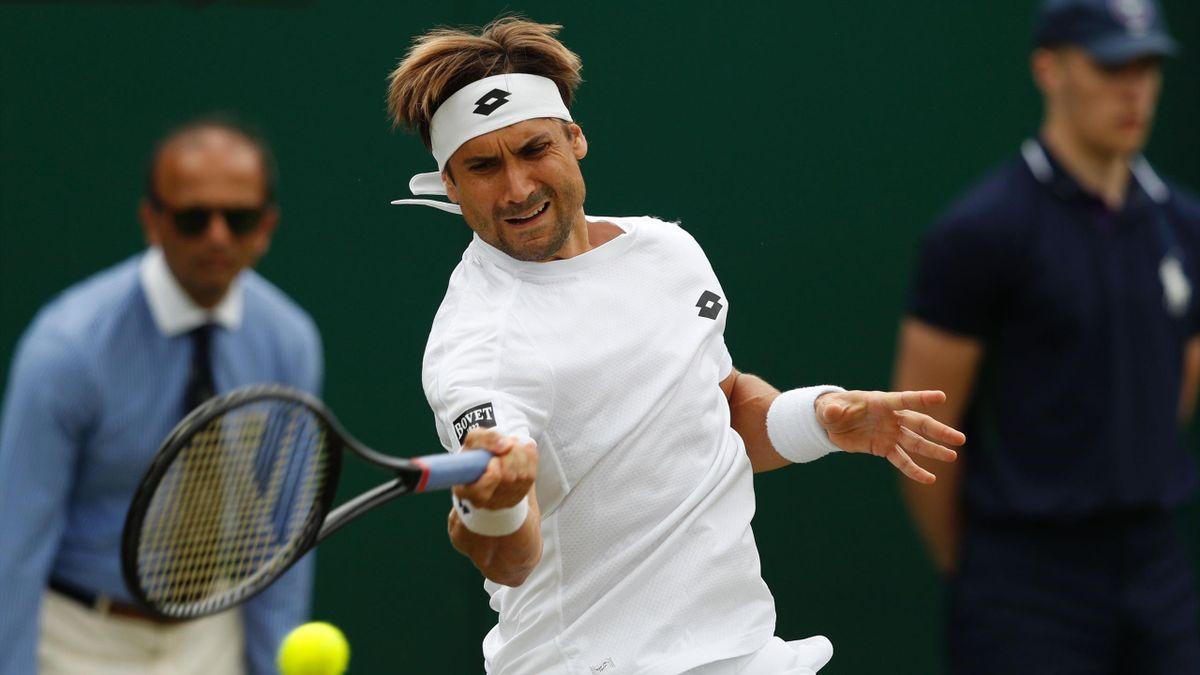 David Ferrer en su partido de primera ronda frente a Richard Gasquet en Wimbledon