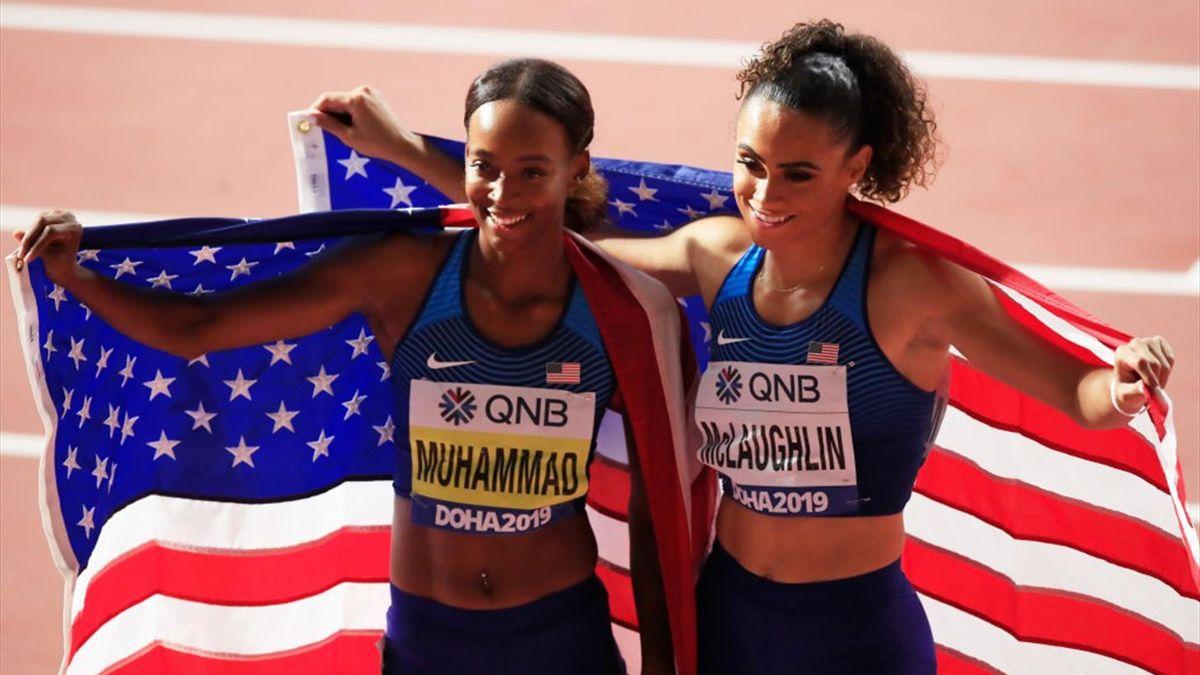 """Dalilah Muhammad en or, record du monde à la clef (52""""16), devant Sydney McLaughlin (en argent) sur 400m haies"""