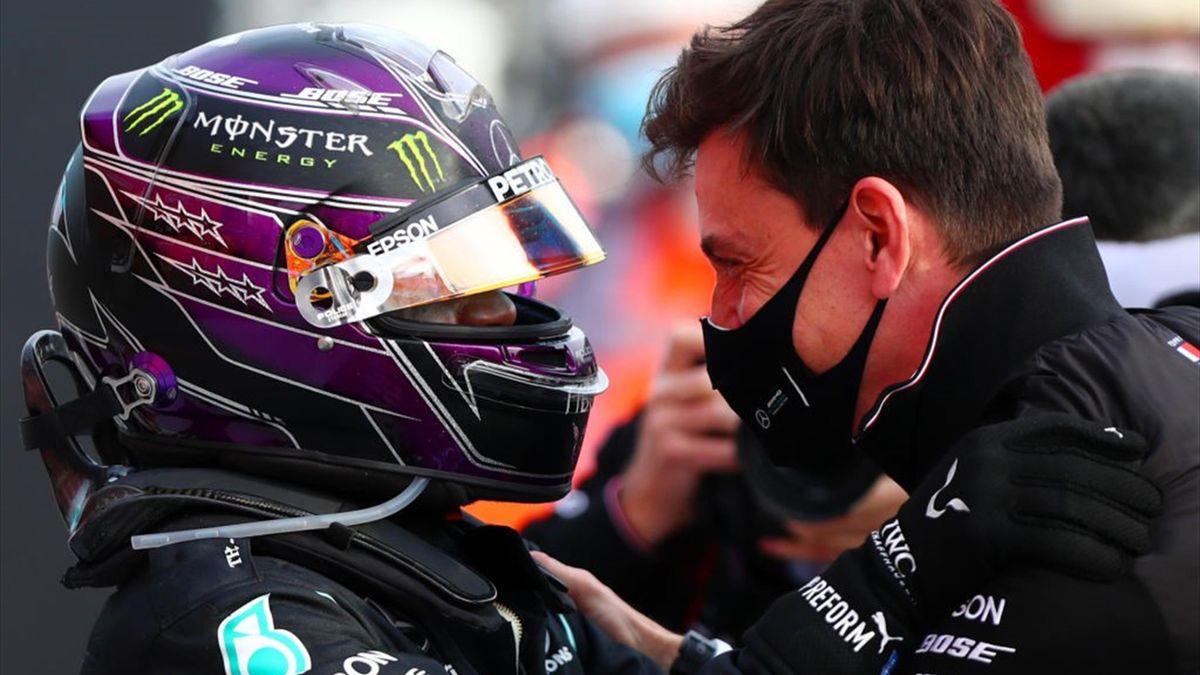 Lewis Hamilton et Toto Wolff (Mercedes) au Grand Prix d'Emilie-Romagne 2020
