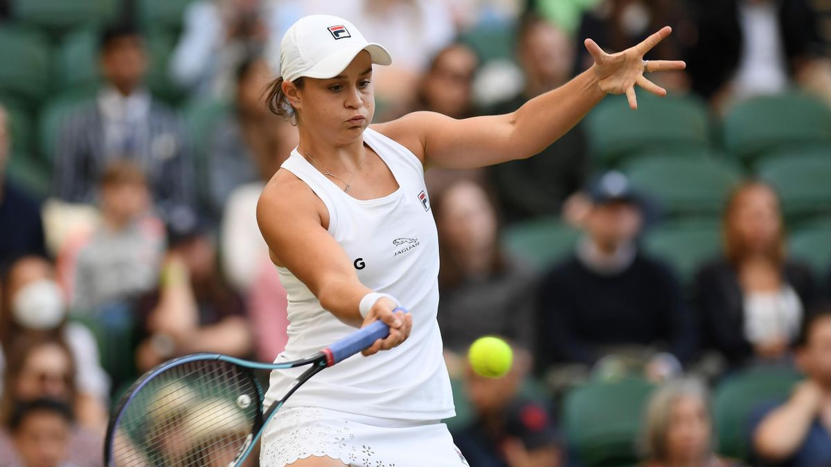 Ashleigh Barty of Australia plays a forehand during her Ladies' Singles third Round match against Katerina Siniakova of The Czech Republic during Day Six of The Championships