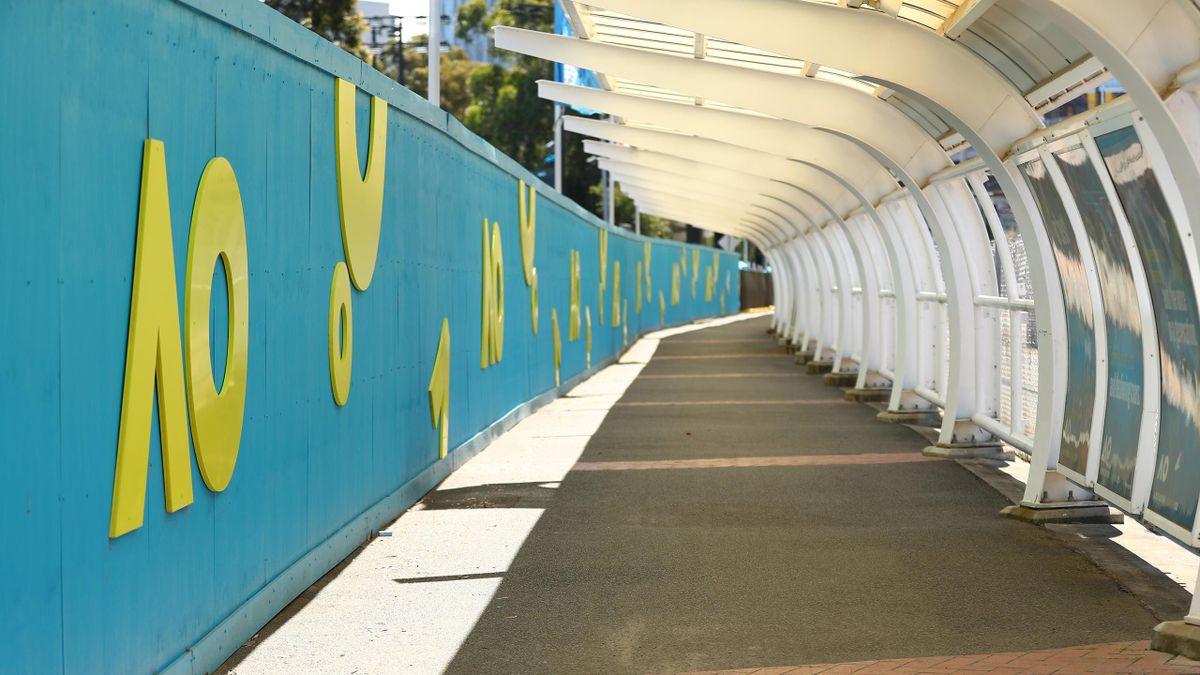 Le sigle de l'Open d'Australie à Melbourne Park en 2021