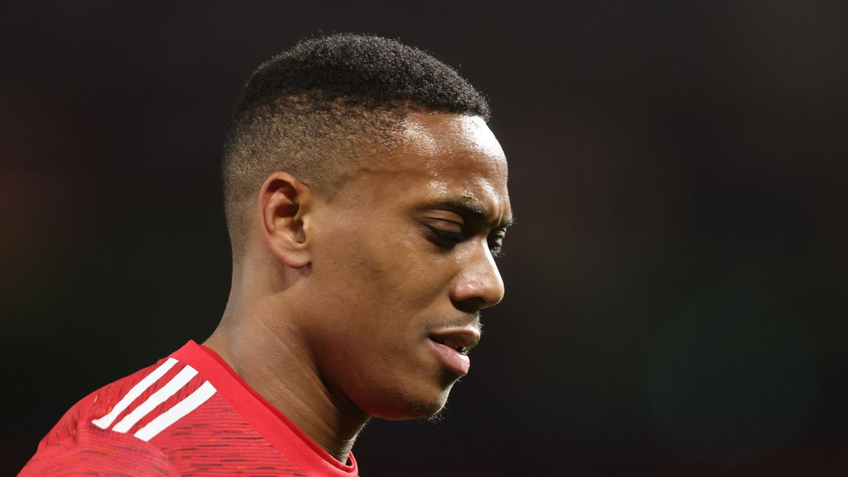 Anthony Martial of Manchester United during the UEFA Europa League Round of 16 First Leg match between Manchester United and A.C. Milan at Old Trafford on March 11, 2021 in Manchester, United Kingdom.