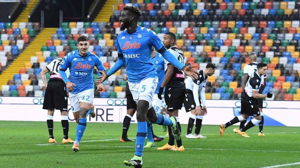La gioia di Timoue Bakayoko dopo il gol vittoria a tempo quasi scaduto, Udinese-Napoli, Serie A 2020-21, Getty Images