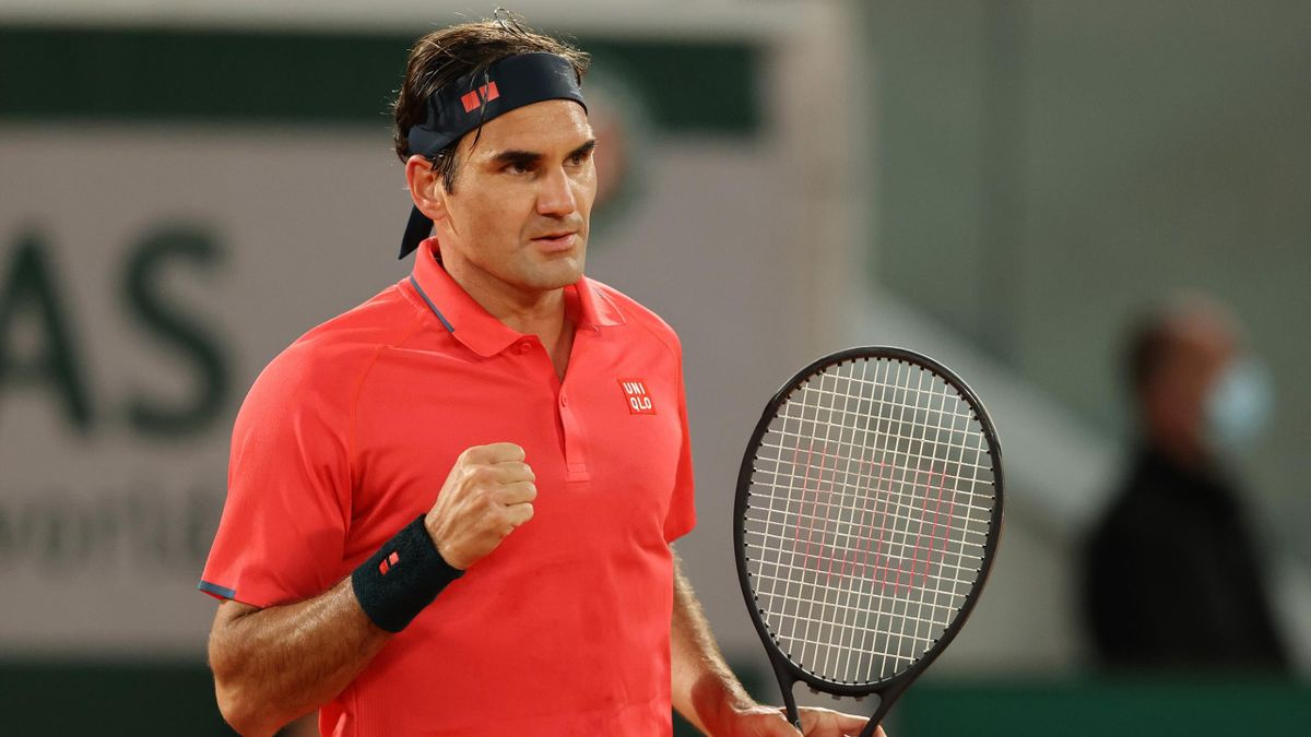 Roger Federer of Switzerland celebrates during his Men's Singles third round match against Dominik Koepfer of Germany on day seven of the 2021 French Open at Roland Garros on June 05, 2021 in Paris