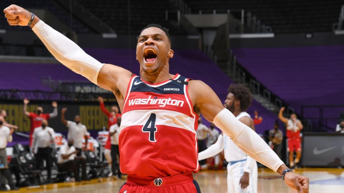 Russell Westbrook célèbre la victoire de Washington chez les Los Angeles Lakers en NBA le 22 février 2021