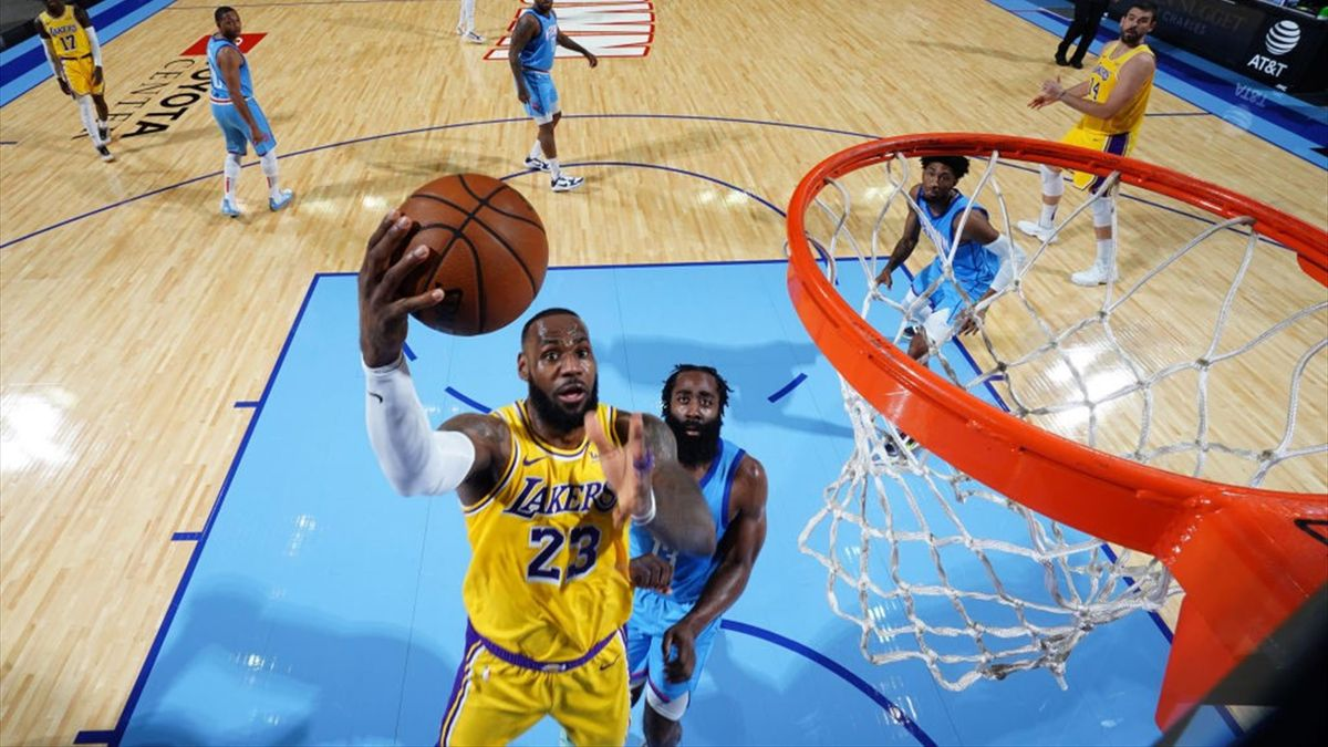 LeBron James y James Harden, Los Angeles Lakers contra Houston Rockets