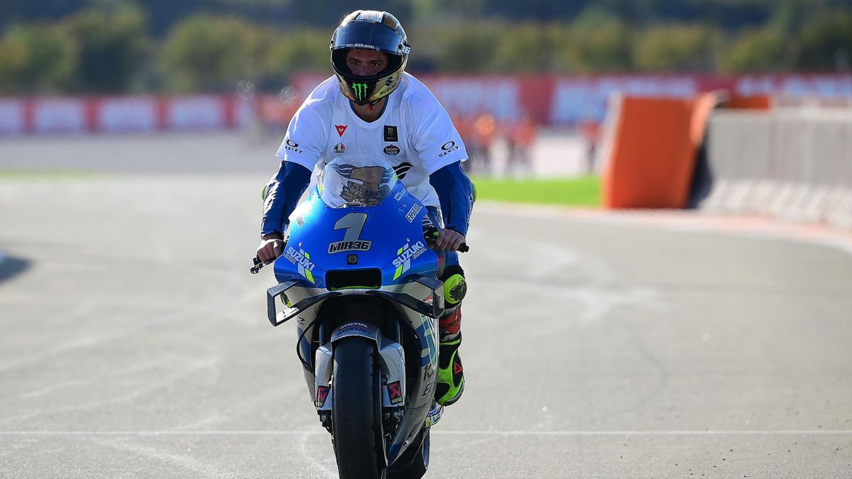 Suzuki Ecstar's Spanish rider Joan Mir celebrates after winning the MotoGP world championship after the Valencia Grand Prix at the Ricardo Tormo circuit in Valencia on November 15, 2020