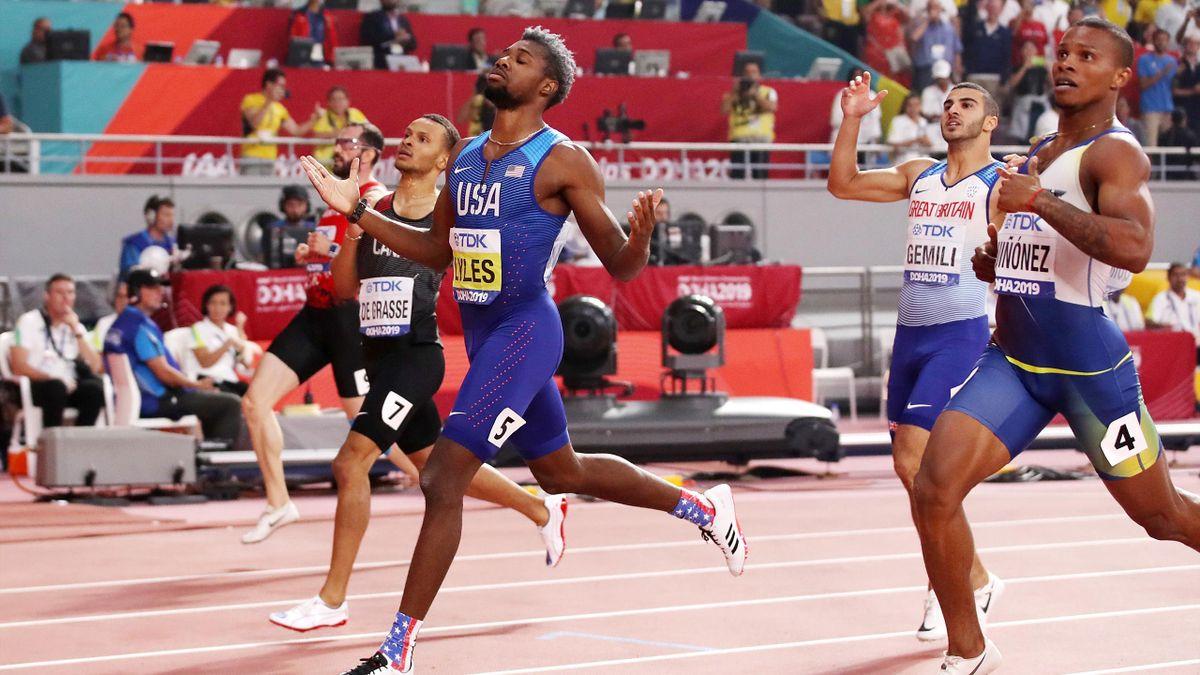 Noah Lyles of the United States celebrates winning the Men's 200 Metres final during day five of 17th IAAF World Athletics Championships Doha 2019 at Khalifa International Stadium on October 01, 2019