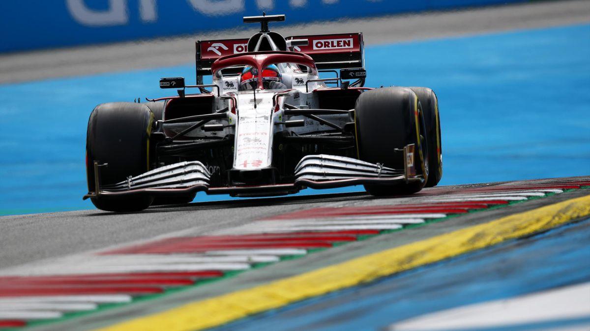 Kimi Raikkonen of Finland driving the (7) Alfa Romeo Racing C41 Ferrari during the F1 Grand Prix of Austria