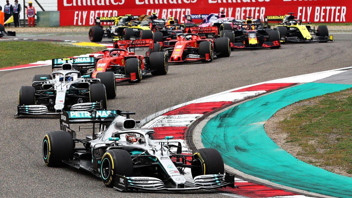 Lewis Hamilton of Great Britain driving the (44) Mercedes AMG Petronas F1 Team Mercedes W10