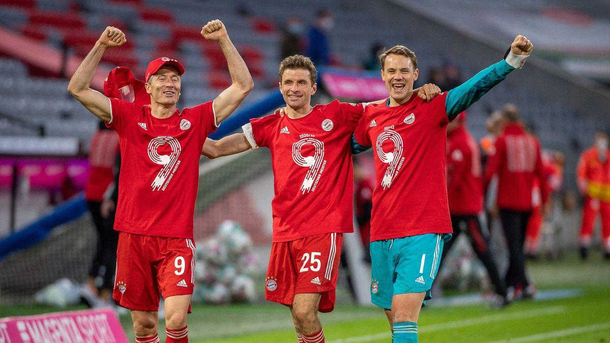 Von links: Robert Lewandowski, Thomas Müller und Manuel Neuer vom FC Bayern