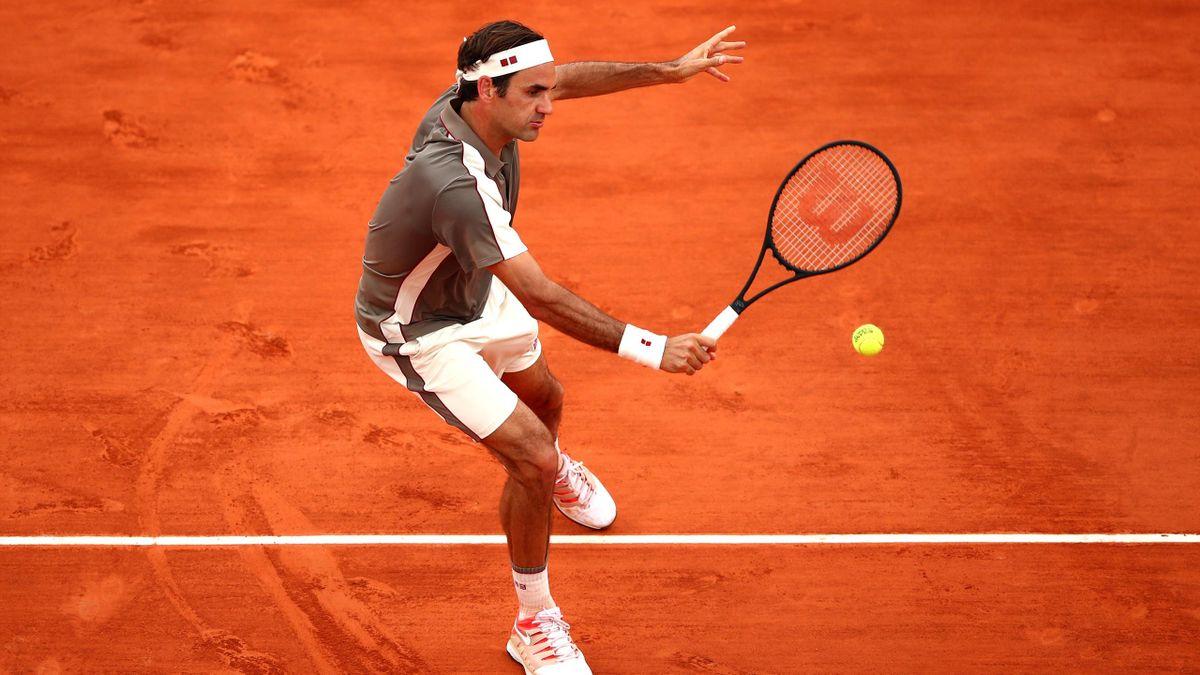 Roger Federer lors de son quart de finale à Roland-Garros 2019