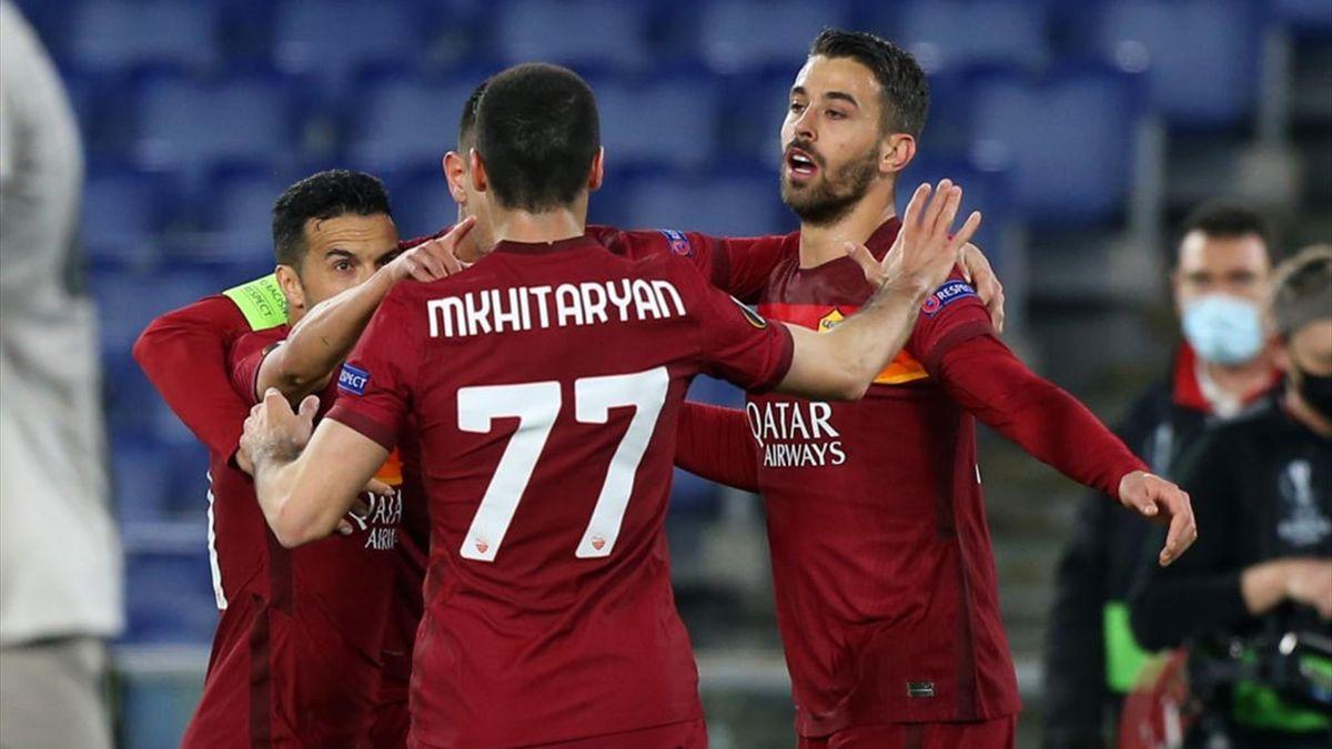 L'esultanza dei giocatori della Roma - Roma-Shakhtar Donetsk Europa League 2020-21