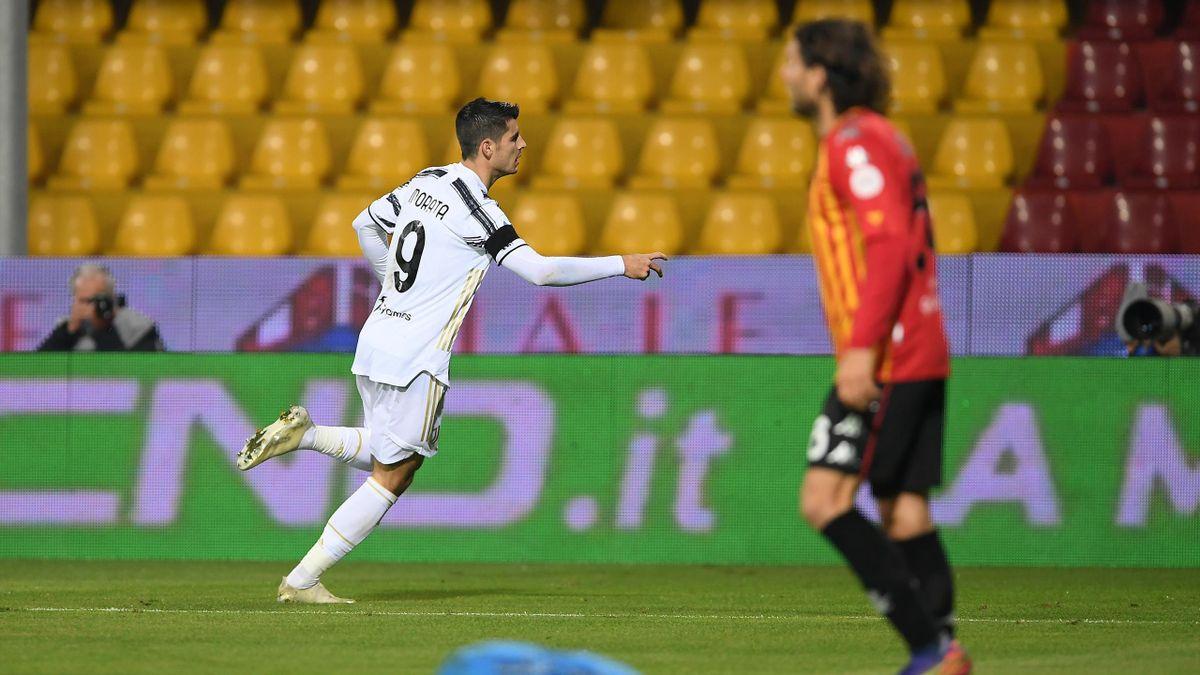 Benevento-Juventus, Serie A 2020-2021: Alvaro Morata esulta dopo il gol dello 0-1 (Getty Images)