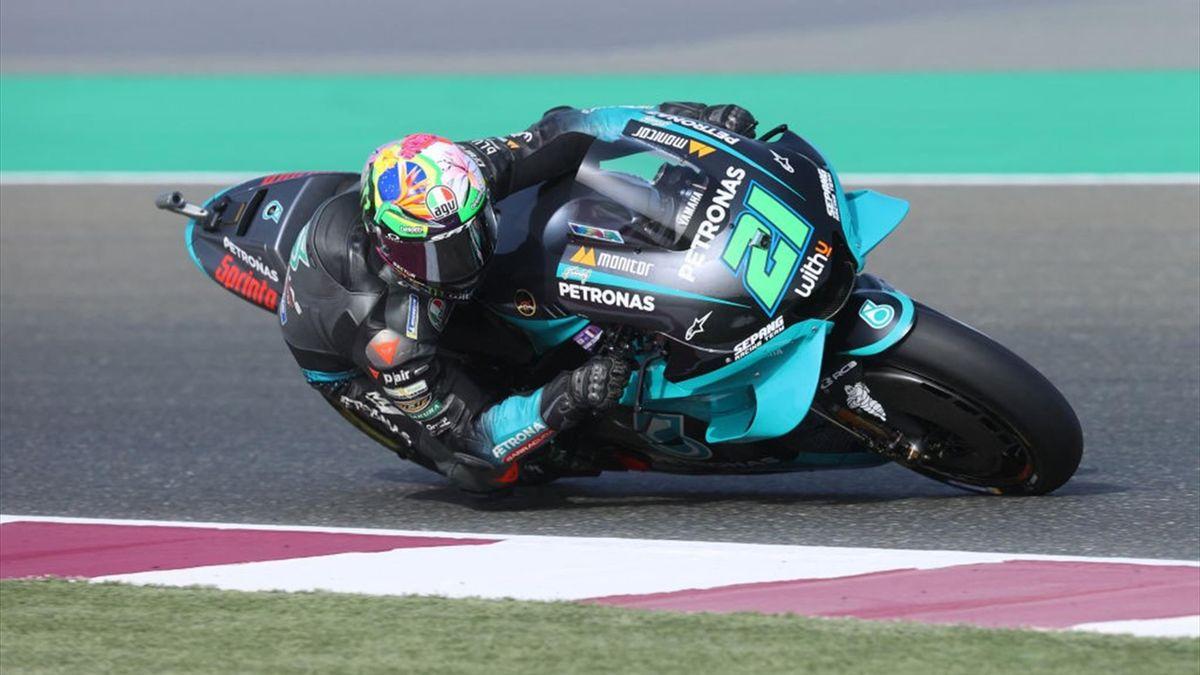 Franco Morbidelli con la sua Yamaha Petronas durante le prove libere del GP di Doha - Mondiale 2021 MotoGP