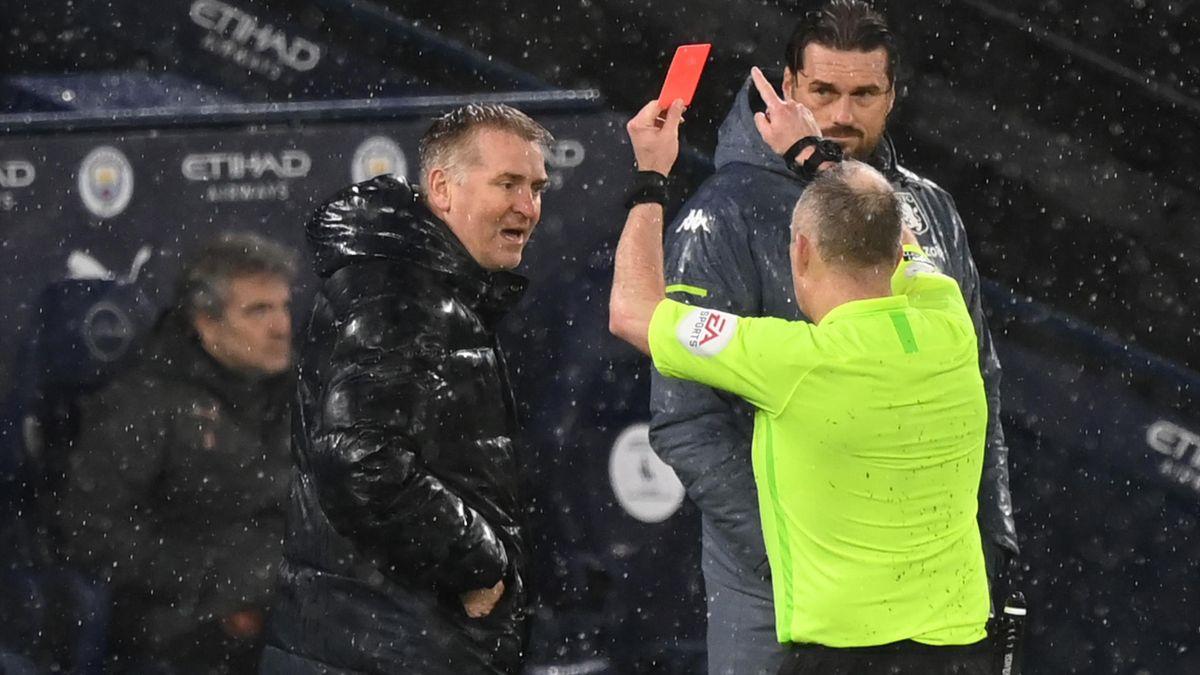 Dean Smith is sent off | Manchester City v Aston Villa