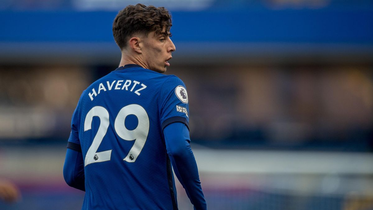 Kai Havertz of Chelsea looks on during the Premier League match between Chelsea and Liverpool at Stamford Bridge on September 20, 2020 in London, United Kingdom