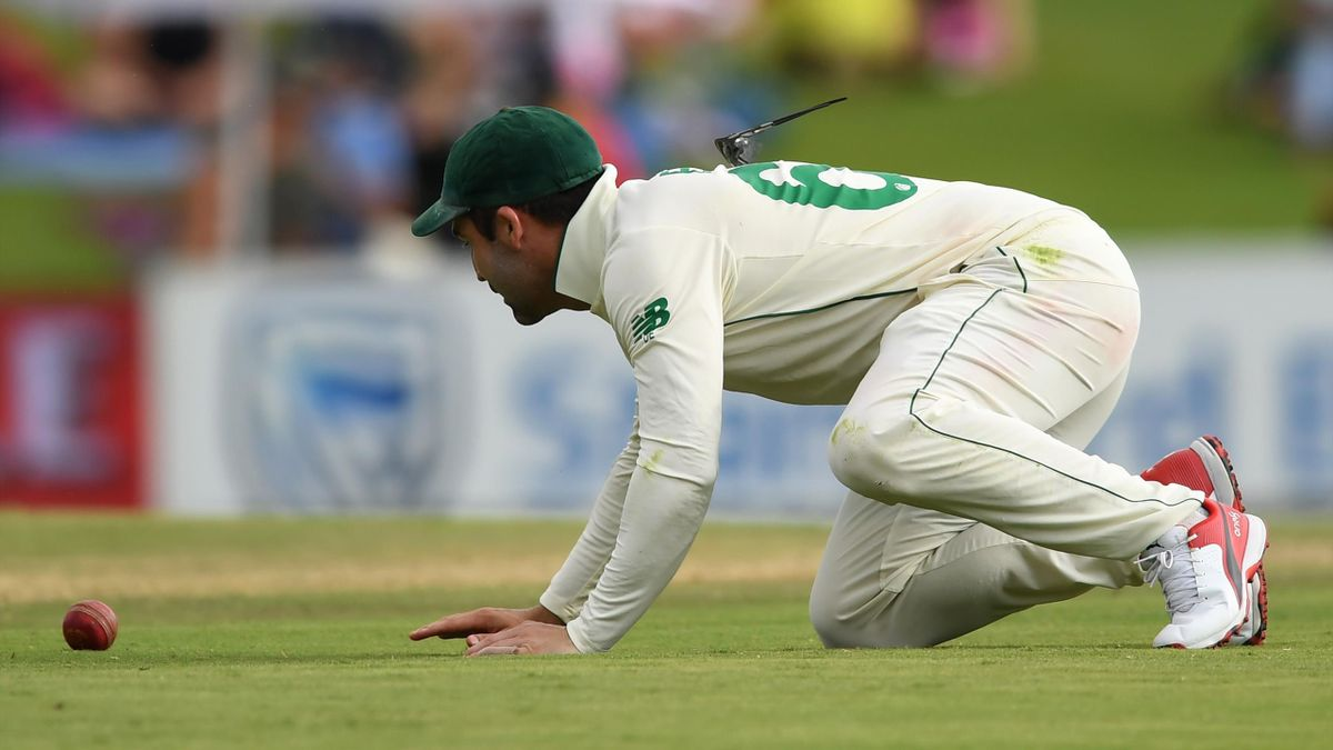 Dean Elgar of South Africa fields the ball as his glasses balance on his back during Day Three of the First Test match between South Africa and England at SuperSport Park on December 28, 2019 in Centurion, South Africa.