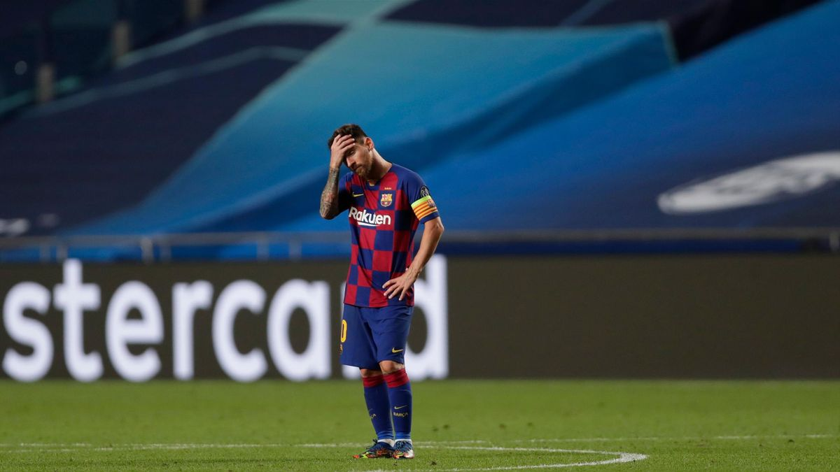 - Barcelona's Argentinian forward Lionel Messi reacts during the UEFA Champions League quarter-final football match between Barcelona and Bayern Munich at the Luz stadium in Lisbon on August 14, 2020. (Photo by Manu Fernandez