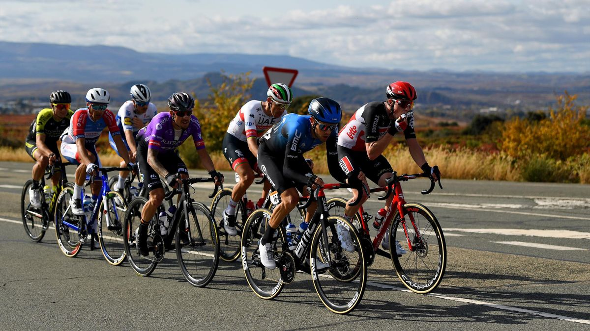 The breakaway rides along during stage 8 of the Vuelta a Espana 2020 / La Vuelta