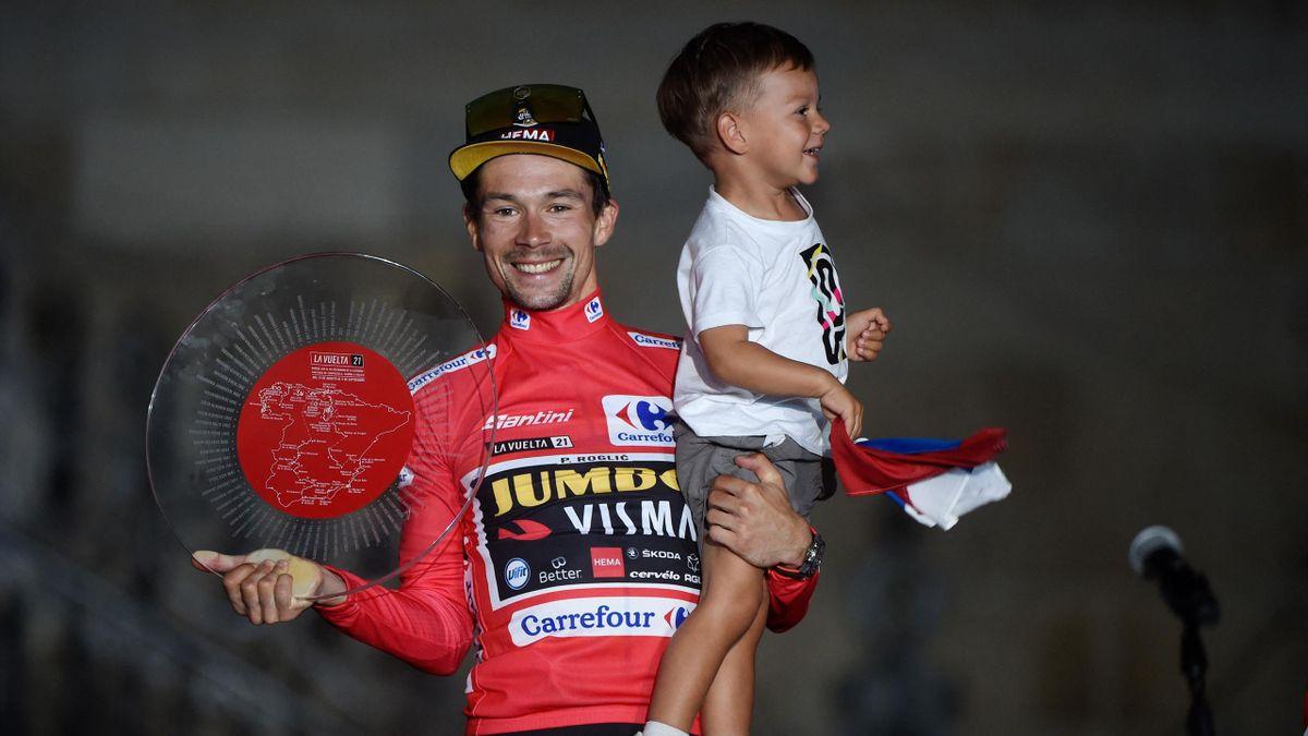 Primoz Roglic feierte mit seinem Sohn Levom den Gesamtsieg bei der Vuelta