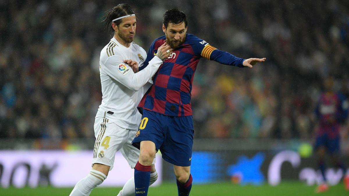 Sergio Ramos, au duel avec Lionel Messi lors du Clasico du 1er mars 2020