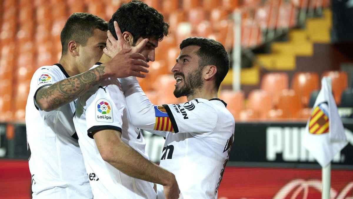 Goncalo Guedes celebrates his goal for Valencia against Villarreal, La Liga, Mestalla, Valencia, March 5, 2021