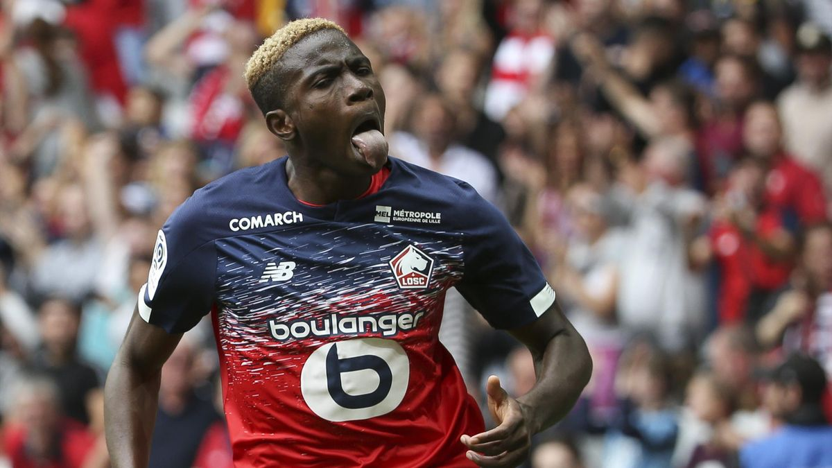 Victor Osimhen célèbre un but lors de Lille-Nantes / Ligue 1
