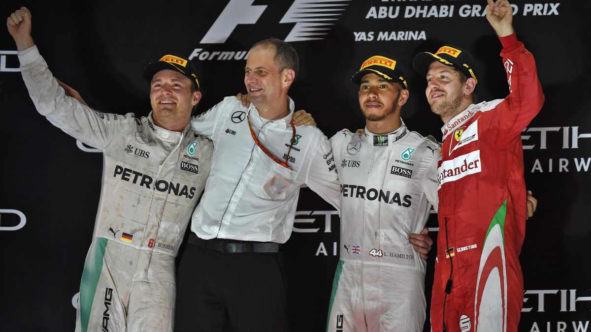 Nico Rosberg, Tony Ross, Lewis Hamilton (Mercedes), Sebastian Vettel (Ferrari) - GP of Abu Dabi 2016
