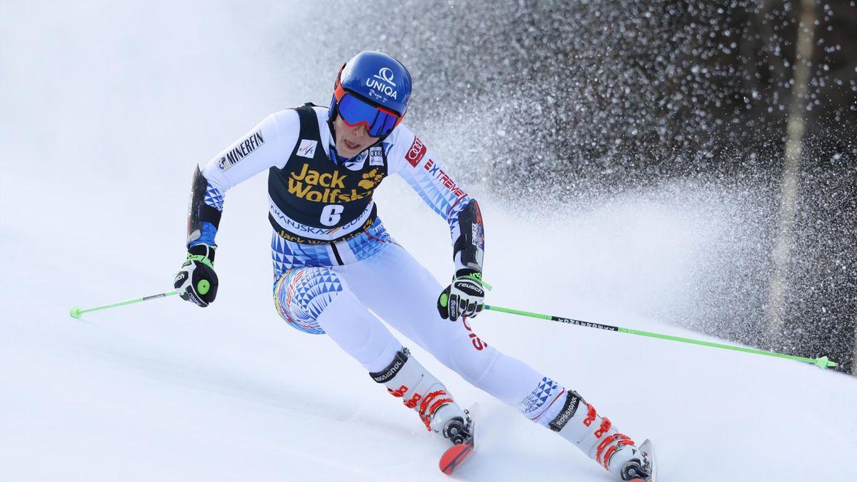 Petra Vlhova lors de la 1re manche du géant de Kranjska Gora