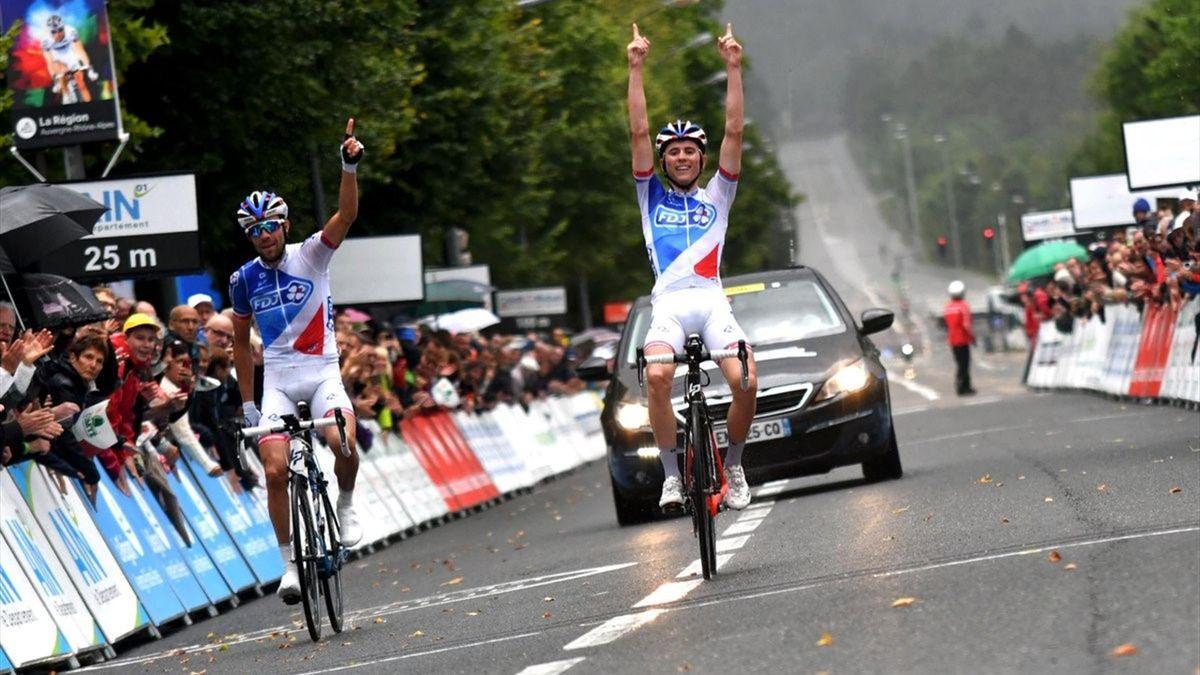 David Gaudu et Thibaut Pinot (FDJ) à l'arrivée de la 4e étape du Tour de l'Ain