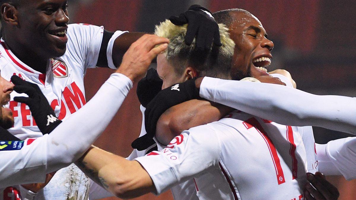 La joie des joueurs de Monaco face à Lorient