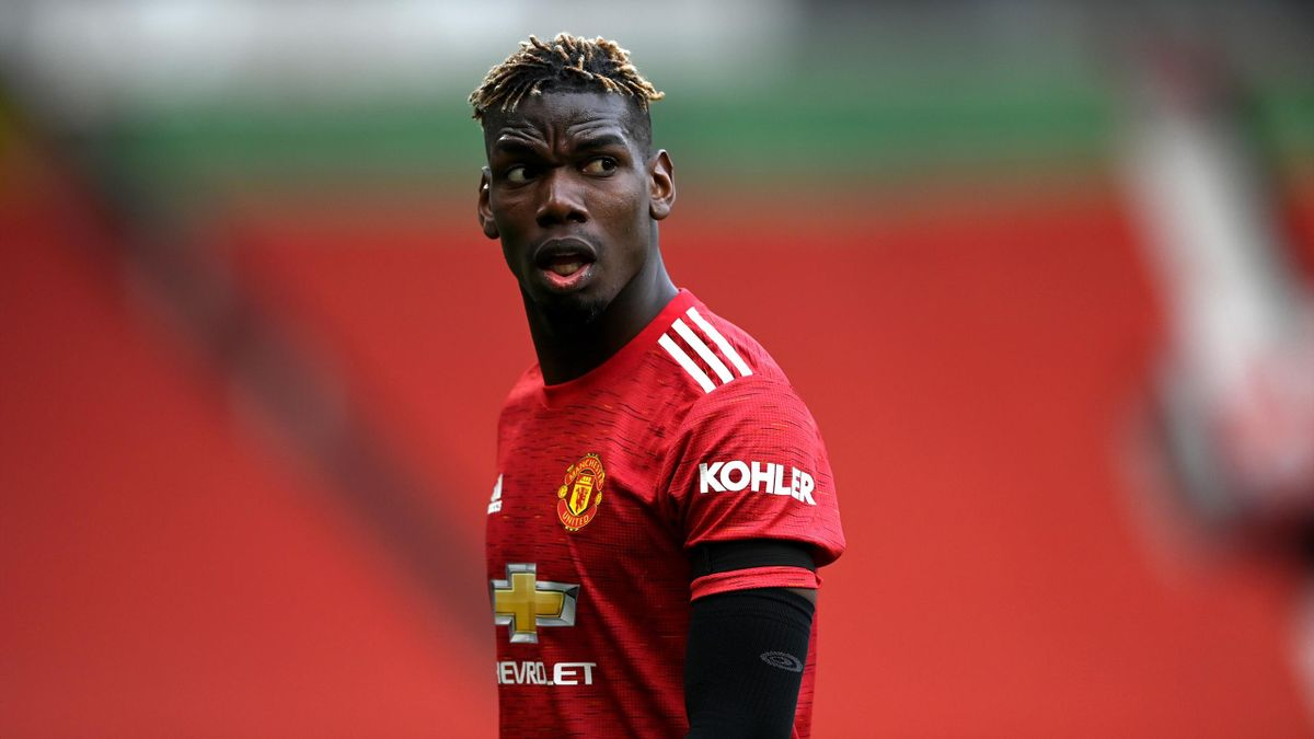 Paul Pogba of Manchester United during the Premier League match between Manchester United and Burnley at Old Trafford on April 18, 2021 in Manchester, England. Sporting stadiums around the UK remain under strict restrictions due to the Coronavirus Pandemi