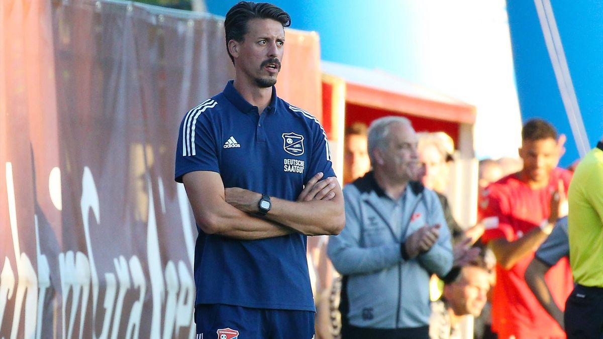 Sandro Wagner bei seinem Debüt als Haching-Trainer
