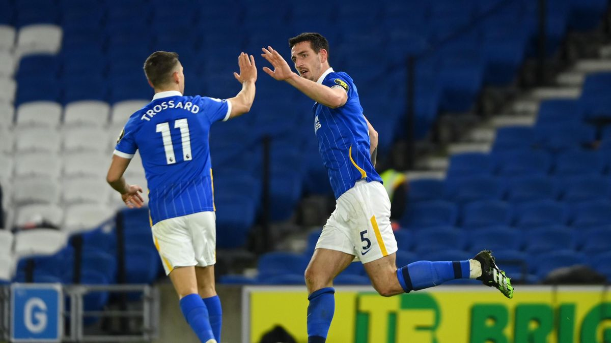Lewis Dunk of Brighton & Hove Albion celebrates with teammate Leandro Trossard after scoring their team's third goal during the Premier League match between Brighton & Hove Albion and Wolverhampton Wanderers at American Express Community Stadium