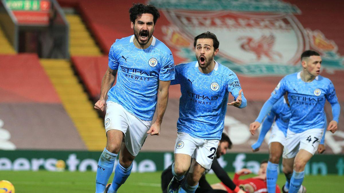Ilkay Gündogan (l.) feiert seine beiden Treffer gegen den FC Liverpool