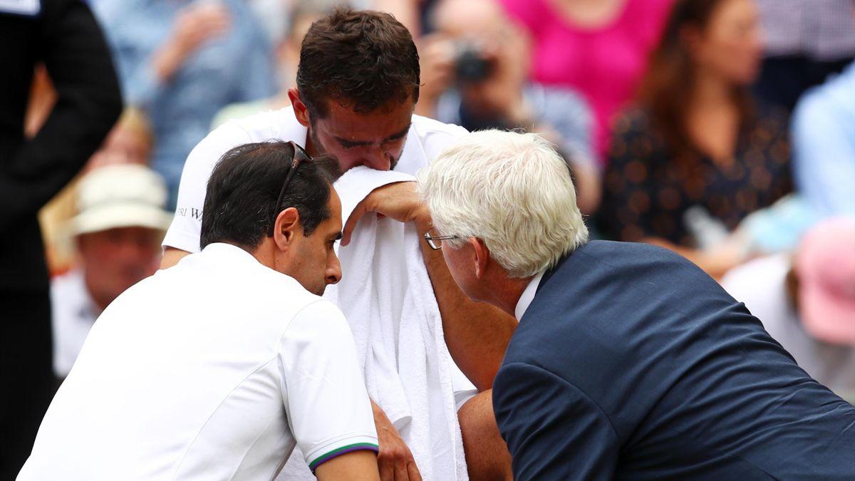 Marin Cilic en larmes lors de la finale ed Wimbledon 2017.
