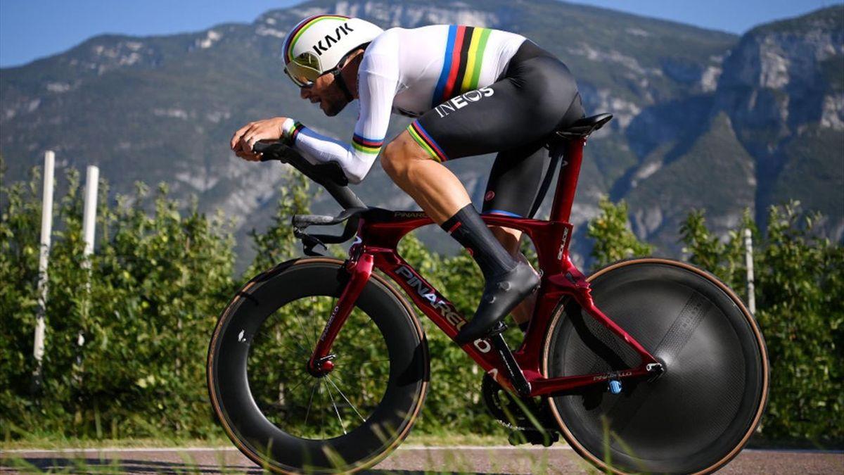 Filippo Ganna durante la prova a cronometro agli Europei di Trento 2021 - Getty Images