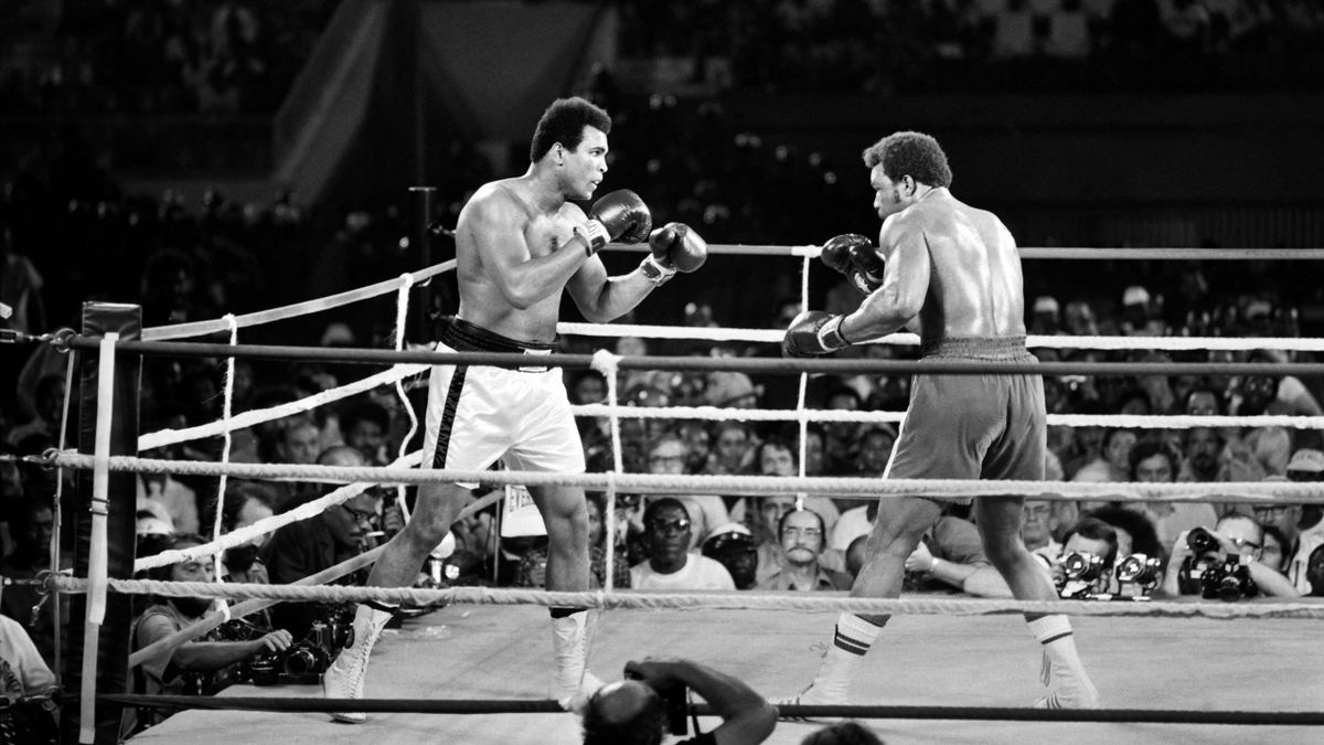 Mohamed Ali face à George Foreman en 1974.