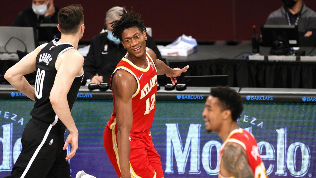De'Andre Hunter (Atlanta Hawks) tout sourire lors de la victoire des siens sur le parquet des Brooklyn Nets